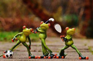 ranas haciendo deporte